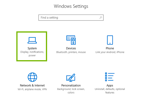 Settings menu with System highlighted.