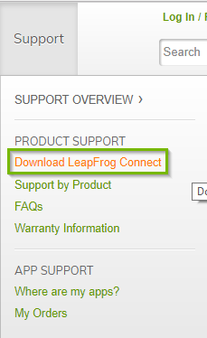 Support section of the LeapFrog website with the Download LeapFrog Connect hyperlink highlighted.