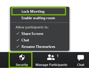 Locking a meeting