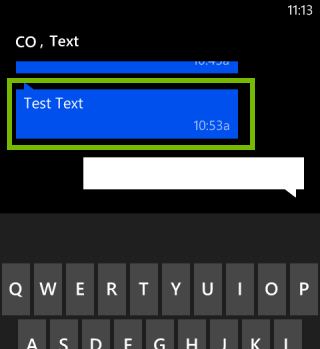 Conversation with a message highlighted. Screenshot