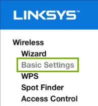Basic settings highlighted