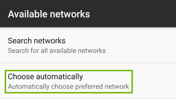 Available networks with Choose automatically highlighted.