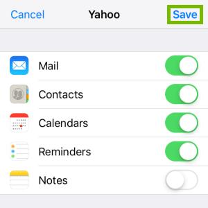 Yahoo! sync options