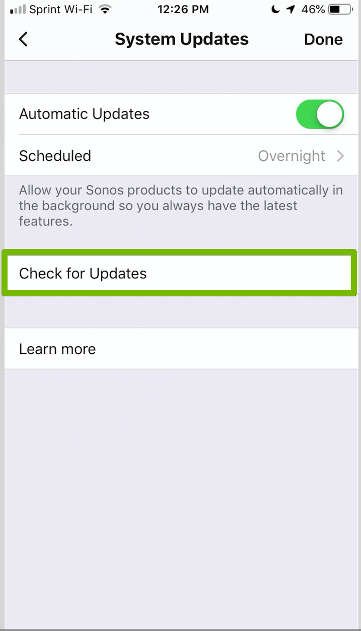Check for updates in Sonos App