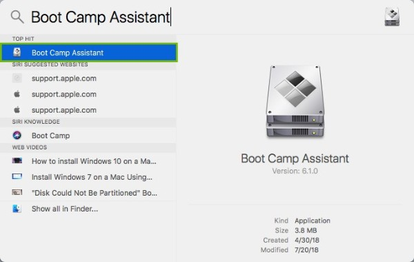Boot Camp Assistant highlighted in search results