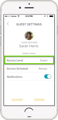 August home app guest settings with access level highlighted