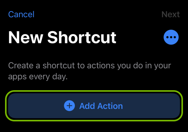 Add Action button highlighted in Shortcut creation screen on iOS.