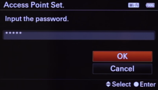 Camera wireless password input screen