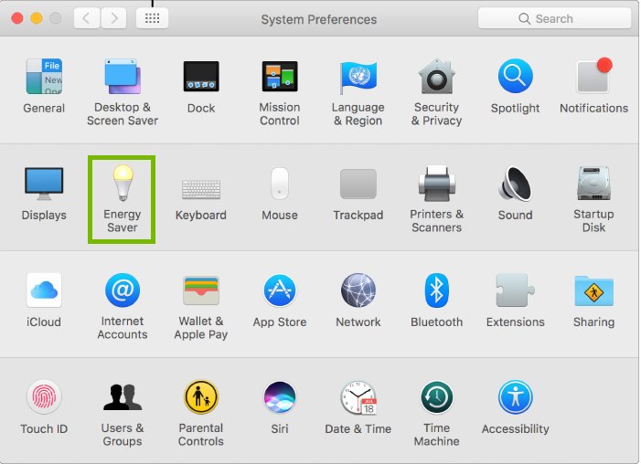 System Preferences with energy saver highlighted