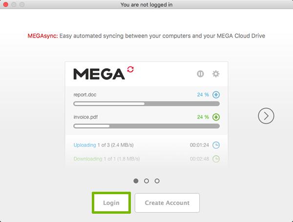 MegaSync setup with Login highlighted.
