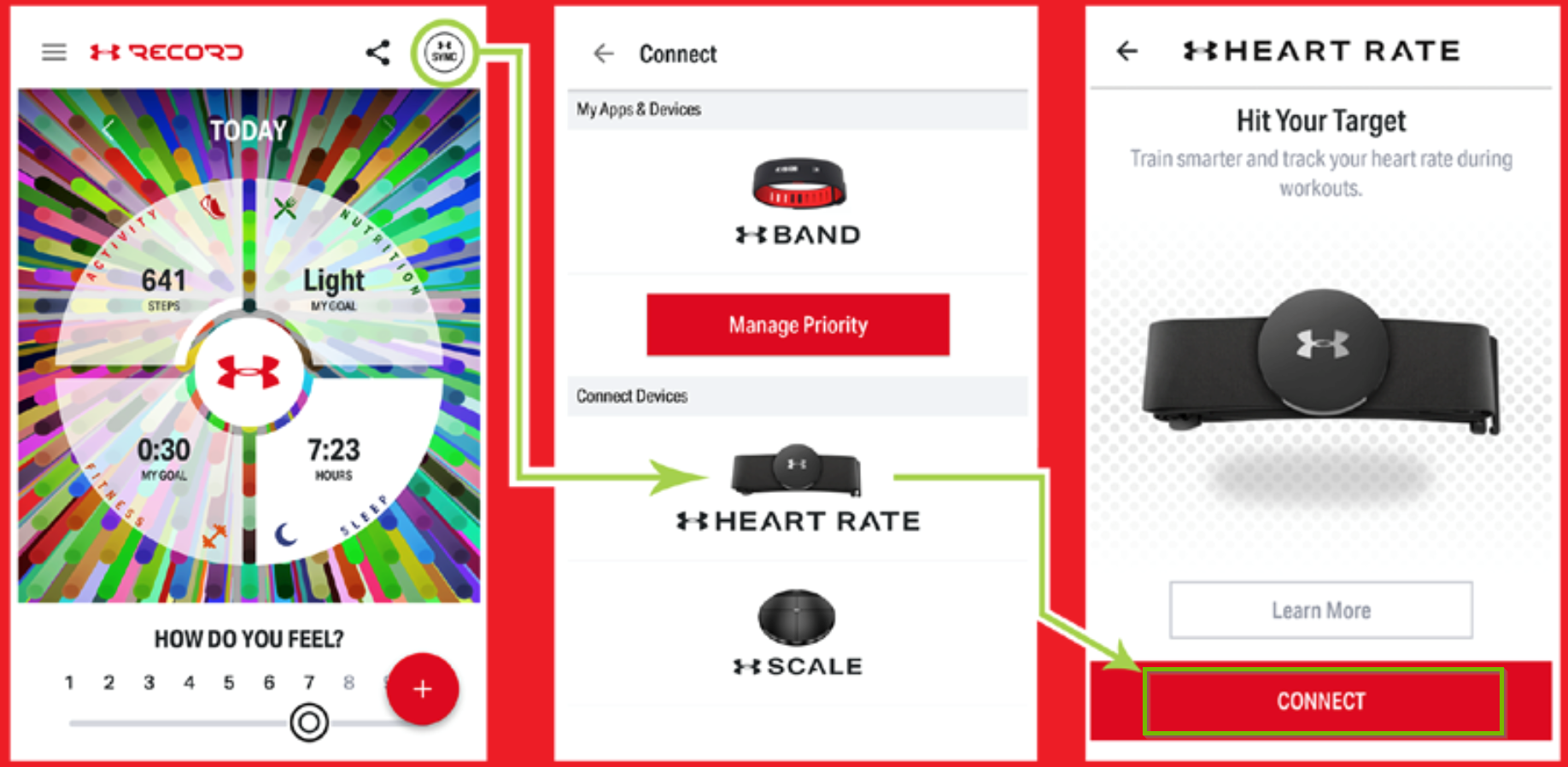 Demonstration the pairing process between the UA Record app and the heart rate monitor. Multiple screenshots.