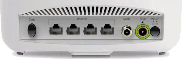 DC connector highlighted on rear of Orbi Cable Modem Router.