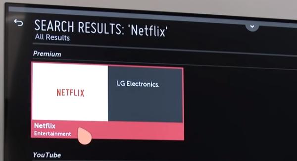 LG netflix selection