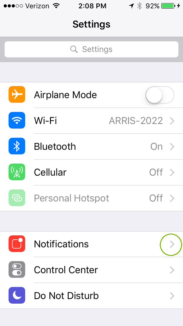 Settings menu with notifications highlighted. Screenshot