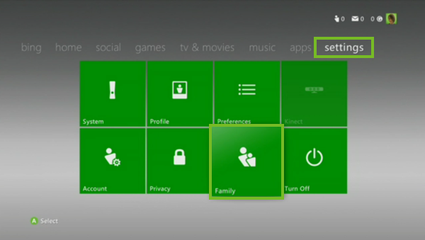 Xbox 360 settings and family