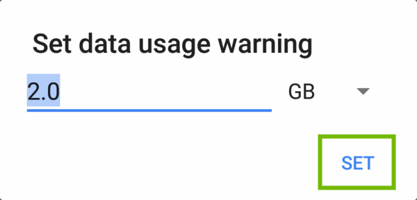 Set data usage warning dialog with Set highlighted.