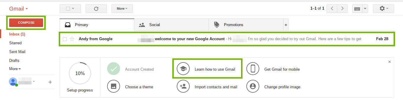 Gmail window with compose, mail message and learn links highlighted