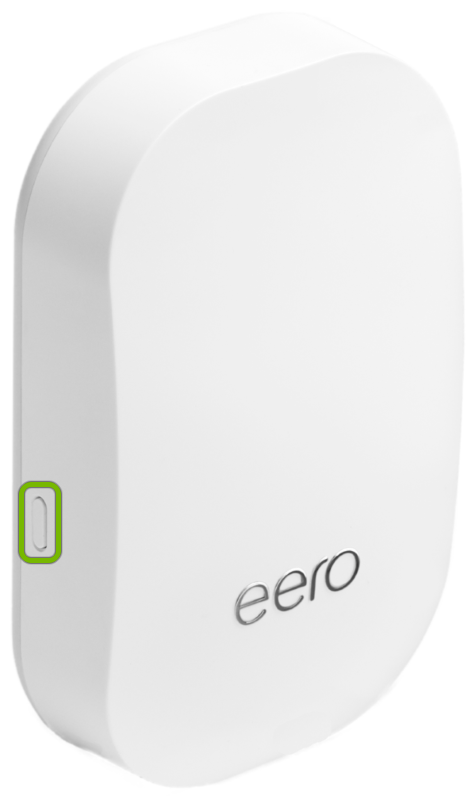 Reset button highlighted on side of eero Beacon.