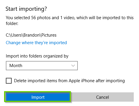 Photos app beginning import