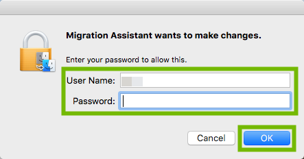 Migration Assistant changes password prompt with Username, Password, and OK highlighted.