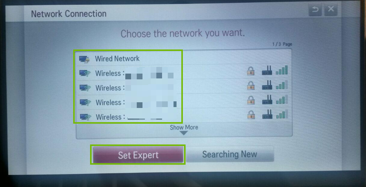 Network Connection with Set Expert highlighted.