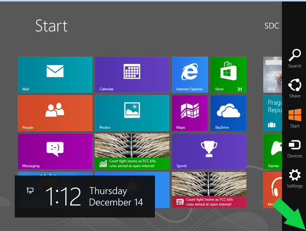Windows 8 Start Menu, Charms Bar open, indicating corner to open Charms Bar.