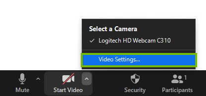 Video settings menu selection