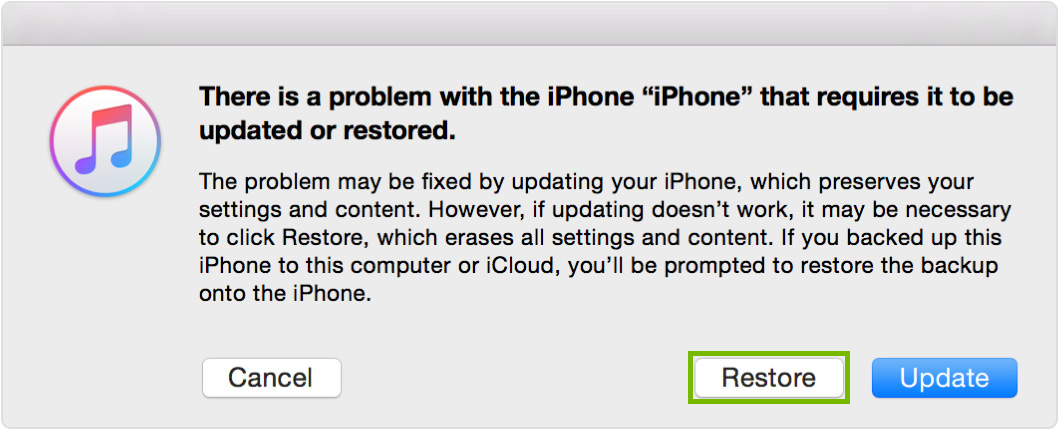 iPhone recovery mode screen with Restore selected. Screenshot.