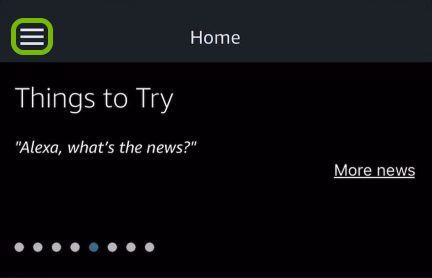Menu symbol highlighted in Alexa app.