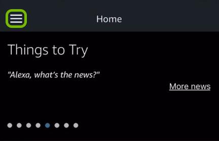 Menu symbol highlighted in Alexa app.