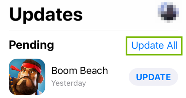 Updates and Update All options highlighted in iOS Updates.