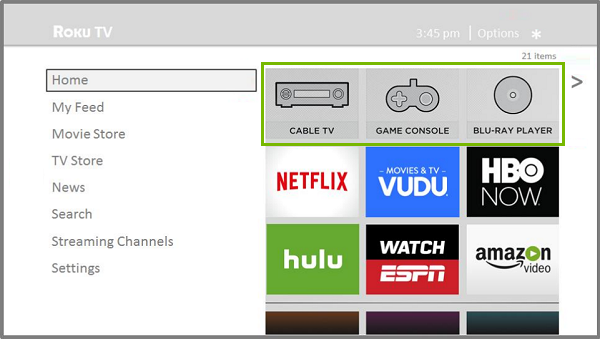 Roku main screen with Devices highlighted.