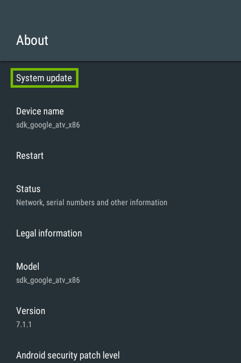 About menu with System update highlighted.