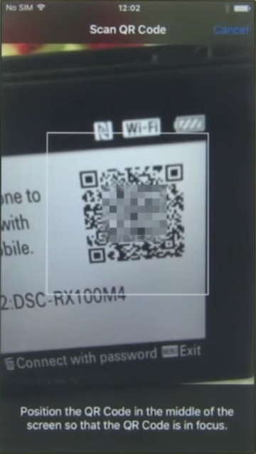 App screen showing QR code scan.