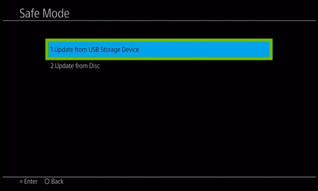 Update menu with Update from USB Storage Device highlighted.