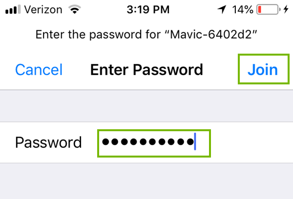 Wi-Fi password entry with Join highlighted. Screenshot