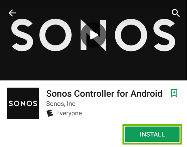 The sonos app selection