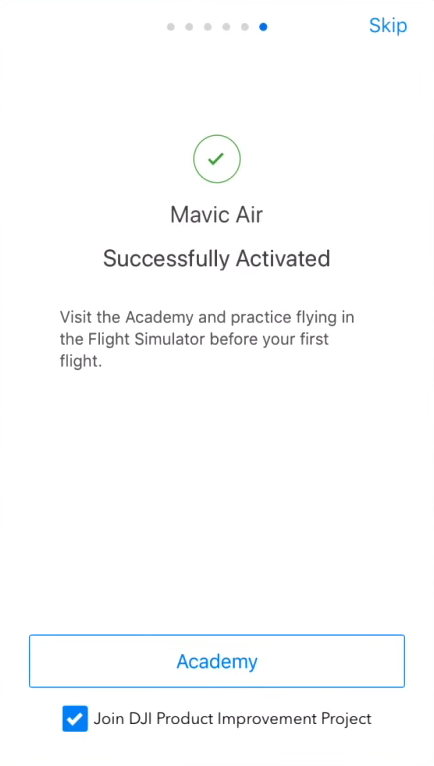 Drone activation confirmation screen.