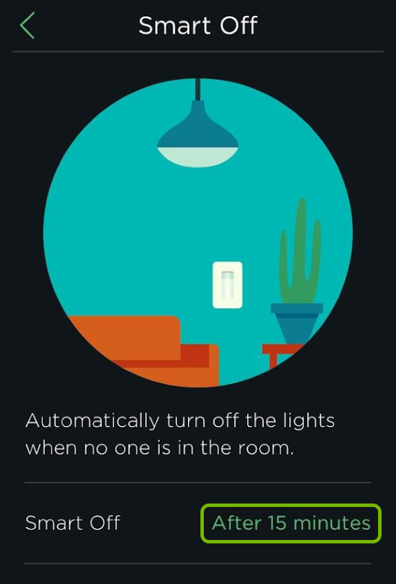 Countdown time highlighted for Smart Off feature in ecobee app.