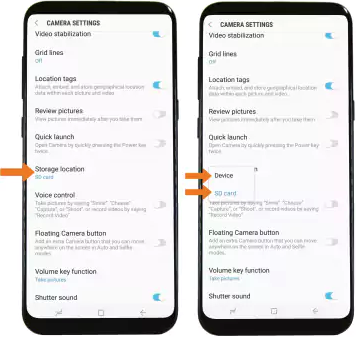 Camera Settings screen with Storage location option selected.
