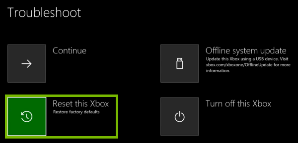 Reset this Xbox option highlighted in Troubleshooter.