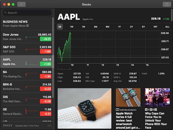 Stocks screen showing Apple.