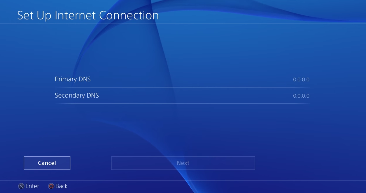 PS4 dns page