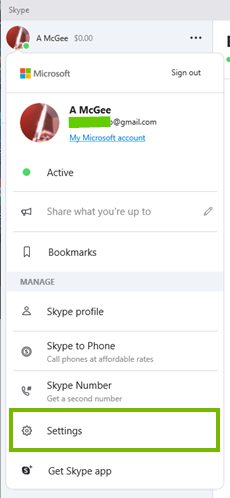 The settings option
