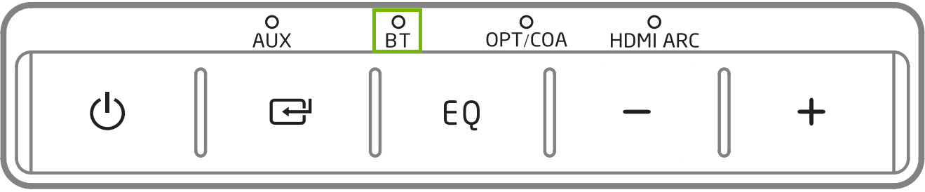 Control panel with BT light highlighted