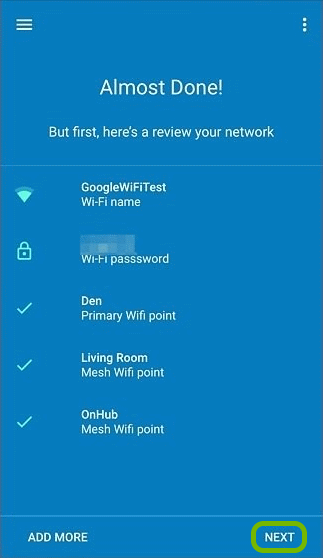 Google Wifi network review screen with Next option highlighted.