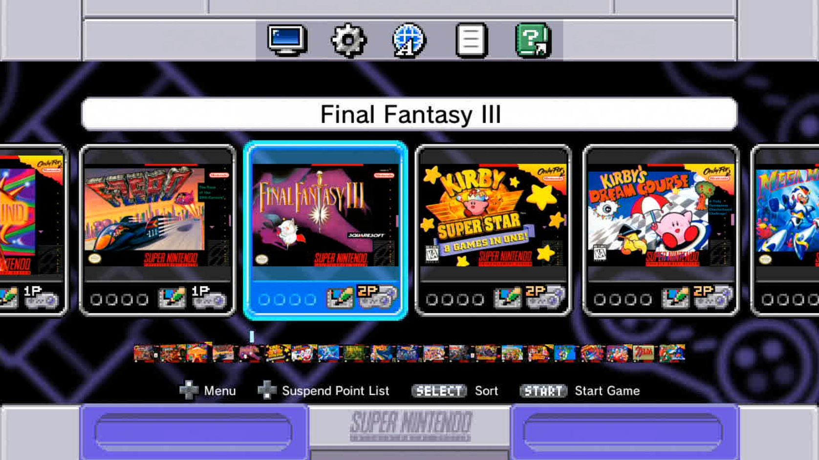Screenshot of the Super Nintendo Classic Edition's home screen.