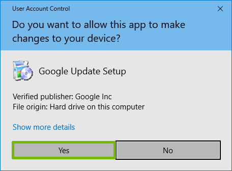 UAC prompt for Google Drive Install with Yes highlighted.