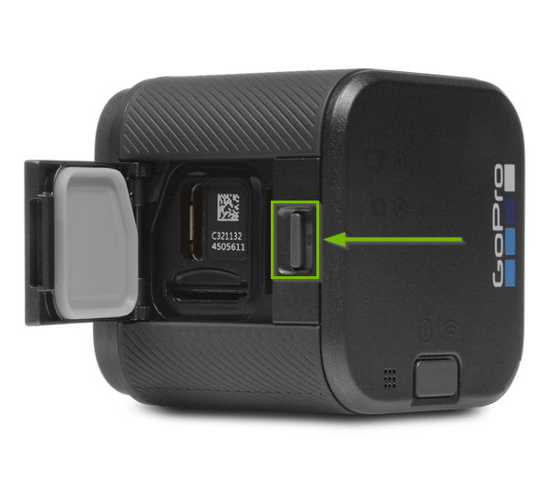 GoPro Session camera with side access panel location highlighted.