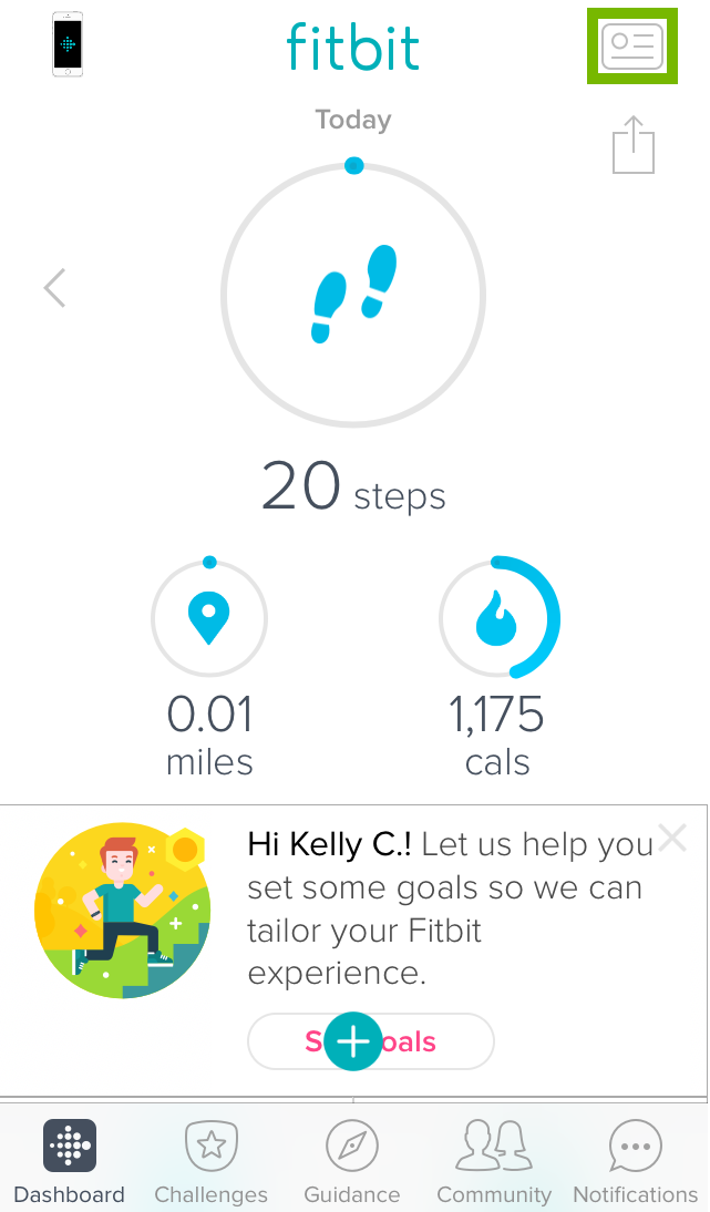 fitbit app home screen with the account icon highlighted
